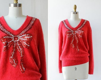 Sequin Bow Fuzzy Sweater S • Angora Sweater • Sequin Sweater • 80s Sweater • Puff Sleeve Top • Red Sweater • Wool Sweater    T752