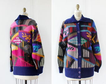 Vintage Cardigan • Abstract Print Slouchy Sweater • Oversized Cardigan • Colorful Sweater • 80s Sweater • Vintage Cardigan | T793