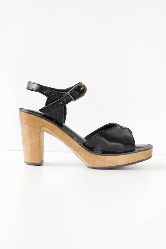 07f0d2b1f47 70%OFF Black Platform Sandals 7 70s Platforms Wood Platform Shoes ...
