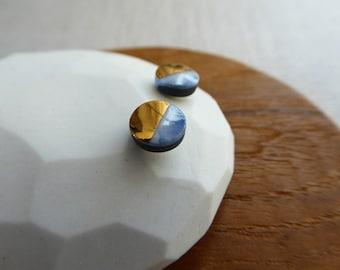 2 Tone Ink Marble and Black Disc Stud Earrings