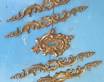 Vintage Salvaged Hardware Findings Destash - Mixed Media, Assemblage, Altered Art - Keyhole Design - Supplies - 5 in Lot
