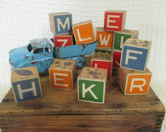 Vintage Wooden Alphabet Picture Blocks - 14 in Lot - Red Blue Green Orange