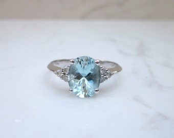 Estate Aquamarine and Diamond Accent 10k Solid White Gold Alternate Engagement Ring, Size 7.25