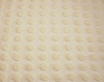 24 x 24 Inches Pastel Yellow Coin Popcorn Vintage Chenille Bedspread Fabric Piece