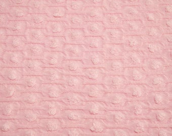 Pink Chenille Fabric } Cotton Candy Pink Popcorn Honeycomb Woven Morgan Jones Vintage Chenille Fabric Piece - 44 x 27 Inches, 3 fat quarters