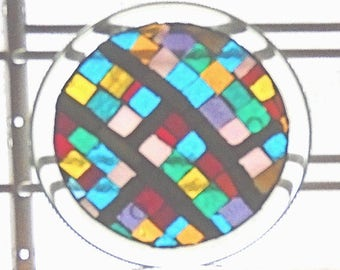 Stained Glass Mosaic Table Top Shelf Decor Coffee Table End Table Candle Holder Sun Catcher
