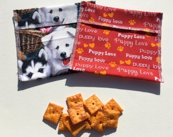 Reusable Snack Bag Set FREE SHIPPING Set of 2 Puppy Love
