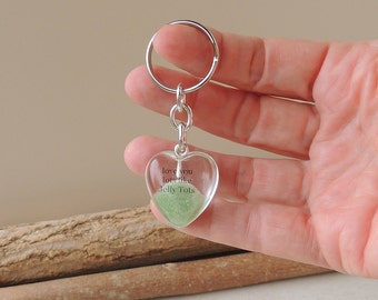 Green Jelly Tot Keyring with Love You Lots Like Jelly Tots Words, Sweet Candy, Typography Resin Keychain, UK, 260