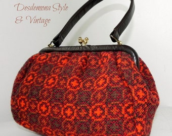 Genuine vintage 60s 70s Brown & Orange Welsh Tapestry hand bag pure wool mod rockabilly winter autumn craft sewing vinyl retro pattern purse