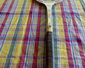 Vintage Garcia Pro Royal Wood Tennis Racquet  Leather Grip Very Good Condition Power Bow