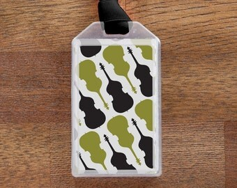 Luggage Tag or Instrument Case ID for String Bass players - Green and Black
