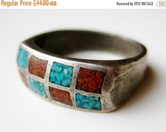 HOLIDAY SALE Vintage Ring Old Sterling Silver Turquoise Coral Navajo American Indian Ring Band size 9