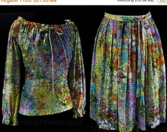 Size 8 Peasant Dress - Impressionist Daisy Florals - 70s Boho Top & Pleated Skirt - Two Piece 1970s Dress Set - Waist 25 to 28 - 46199