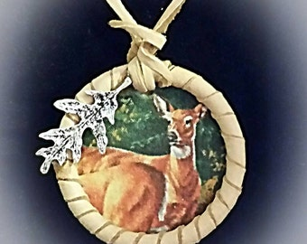 Leather Necklace Pendant Deer NDN Regalia American Indian