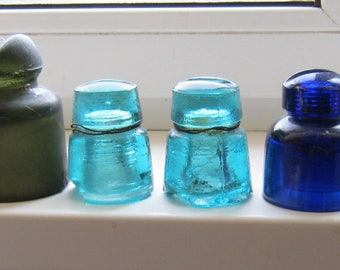 Free shipping. Set of 6 vintage soviet union old glass insulators