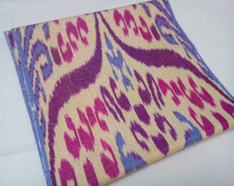 Uzbek colorful silk ikat fabric by meter. Traditional handwoven fabric Adras. F048