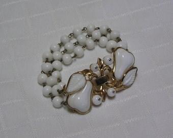 Trifari poured white glass pear clasp triple white glass beaded bracelet