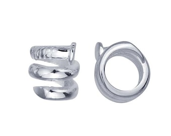 Sterling Silver 9.3 x 9.6mm Coiled Nail Bead for leather bracelet