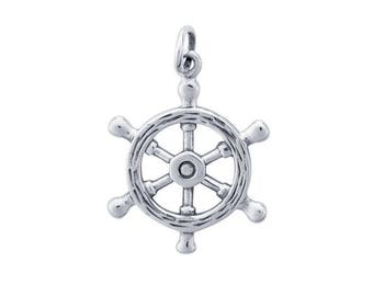 Sterling Silver 3D Ship's Wheel Charm