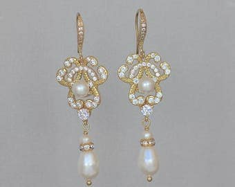 Gold Vintage Earrings, Gold Pearl Drop Earring, Bridal Earrings, Rose Gold, Gold & Rhodium Earring Options,  CELINE 2FH