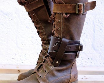 Unisex Leather Boot Garter  - Brown - steampunk - burning man - apocalypse - mad max, Please read Description for size