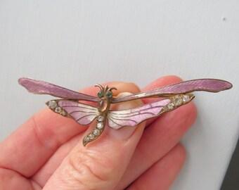 Pretty EDWARDIAN Art Nouveau Brass Enamel Dragonfly BROOCH
