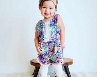 Baby Girl Boho Coachella Romper Opulence Collection Pom Poms Lace Ribbon