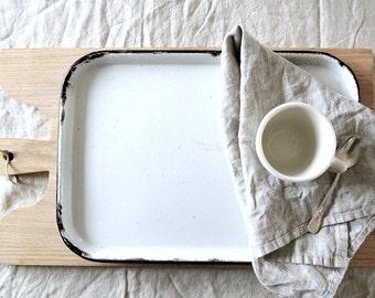 WHITE Vintage Enamel Tray with Black Rim