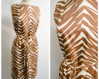 1960s Brown zebra print fitted shift dress / 60s animal print sleeveless dress - XS S