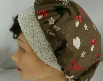 Merry Christmas Soap Making Hat Scrub Cap Ladies Medical Nurse Cap Washable Cotton Fabric Ready-Made