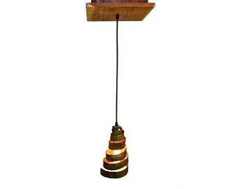 "RUSTIC - ""Aralia"" - Reclaimed Barn Wood and Wine Barrel Ring Adjustable Chandelier - 100% RECYCLED"