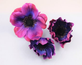 Lot of 3 Assorted Anemone -Deep Pink with Purple