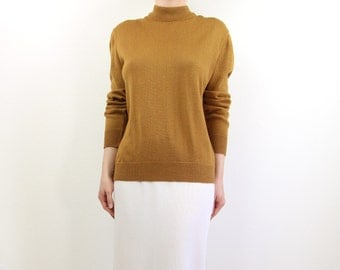 VINTAGE Mustard Sweater Knit Mock Neck Top