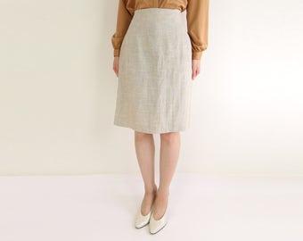 VINTAGE Linen Pencil Skirt 1990s Natural Minimalist