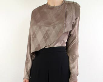 VINTAGE Blouse Draped Layer Argyle Taupe Longsleeve