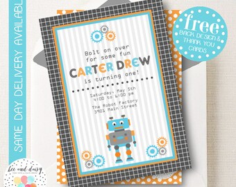 Robot Invitation, Robot Birthday Invitation, Robot Party, Boy First Birthday, Boy Birthday, Robot Invite, Printable Robot Invitation