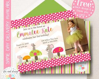 Woodland Mouse Invitation, Woodland Birthday Invitation, Woodland Party, Girl First Birthday, Girl Birthday, Woodland Invite