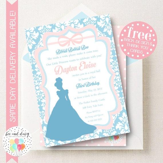 Cinderella Princess Invitation For Girls Birthday Party Printable