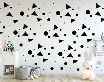 Nursery wall art, Nursery Wall Decals, Black Polka dots, Square Decal, Triangle decals, Kids Wall Decal Modern Nursery Wall stickers decor