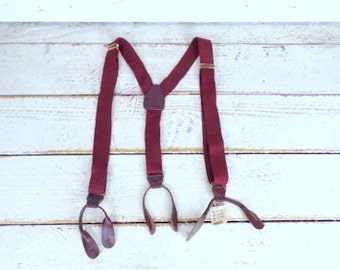 Vintage maroon canvas button tab stretch suspenders/dark red woven cloth tab suspenders/vintage burgundy braces