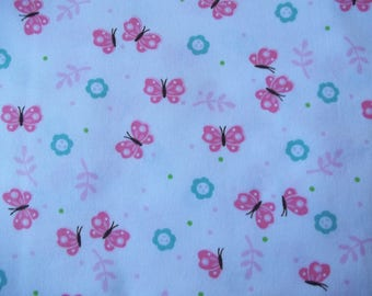 Cute Butterfly Cotton Flannel, Flannel Fabric, Butterfly Fabric, One Yard, Children's Fabric, Quilt Fabric, Cotton Fabric, Sewing Supply