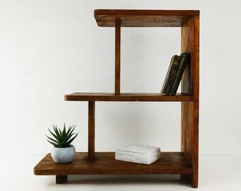 Vintage 3 Tier End Table / Wood book shelf / Side table