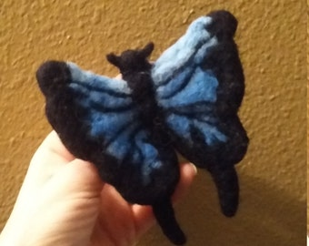 Blue Butterfly pin brooch needlefelted