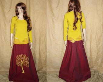 Yellow assymetric, pointy, earthy, faery, fairy top woodland, size S