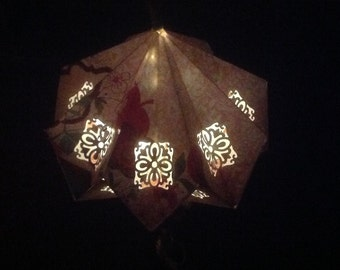 Origami Paper Lantern Measuring 8 inches by 8 inches