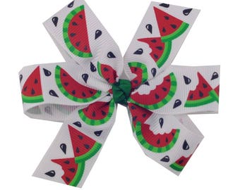 Large 4 inch Pinwheel Bow with Watermelon - Summer Hair Bow