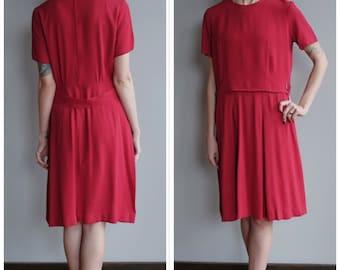 Late 1950s Dress // Lora Lenox Rayon Red Dress // vintage 50s dress