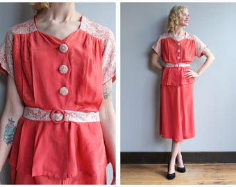 1930s 2pc Set // Coral Silk & Lace 2pc Summer Suit // vintage 30s suit