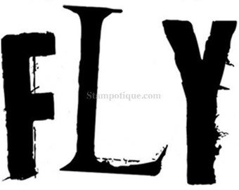 CLEARANCE!** 40% OFF Stampotique Originals Wood Mounted Rubber Stamp ~ Fly Word [3049E]