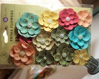 CLEARANCE* 30% off ~ Prima Flowers ~ Cigar Box Secrets ~ Maduro Paper Flowers *Cards*Scrapbooking*Crafts*